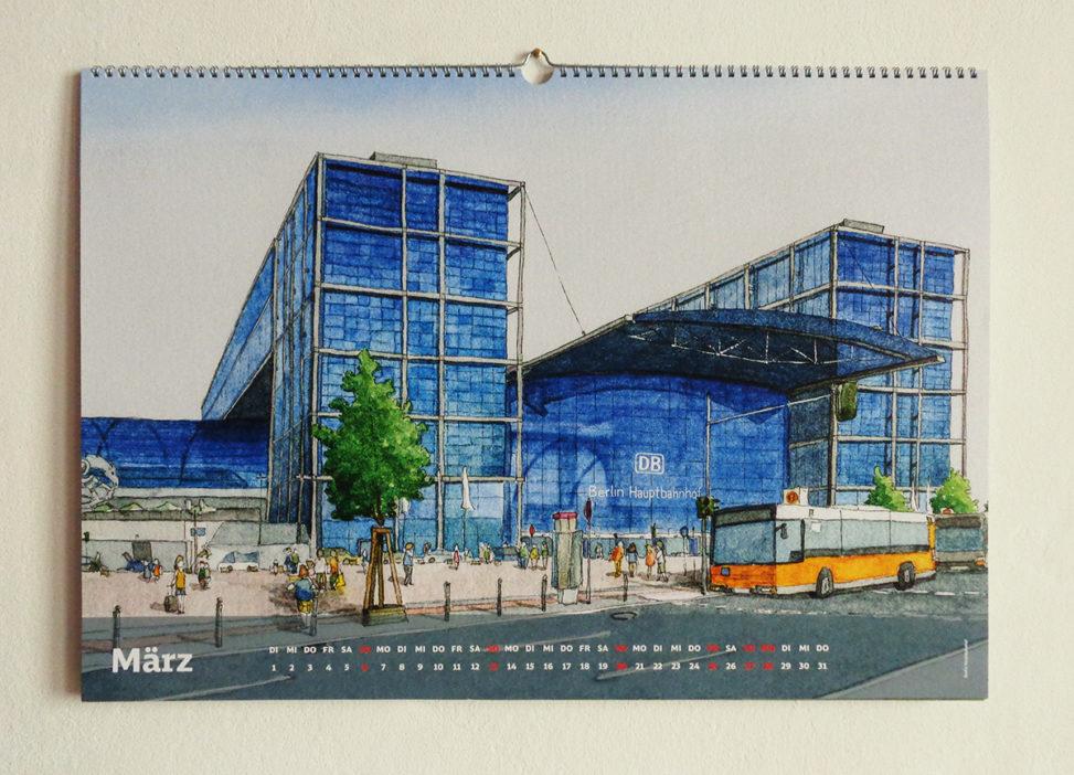 Illustration vom Hauptbahnhof Berlin, Bahnhofskalender