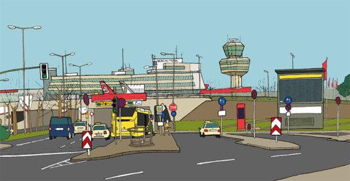 Illustration vom Flughafen Tegel