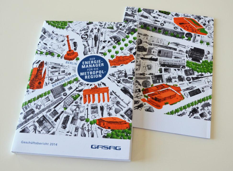 Coverillustration Geschäftsbericht (Vorderseite) und Magazin (Rückseite) der GASAG 2014