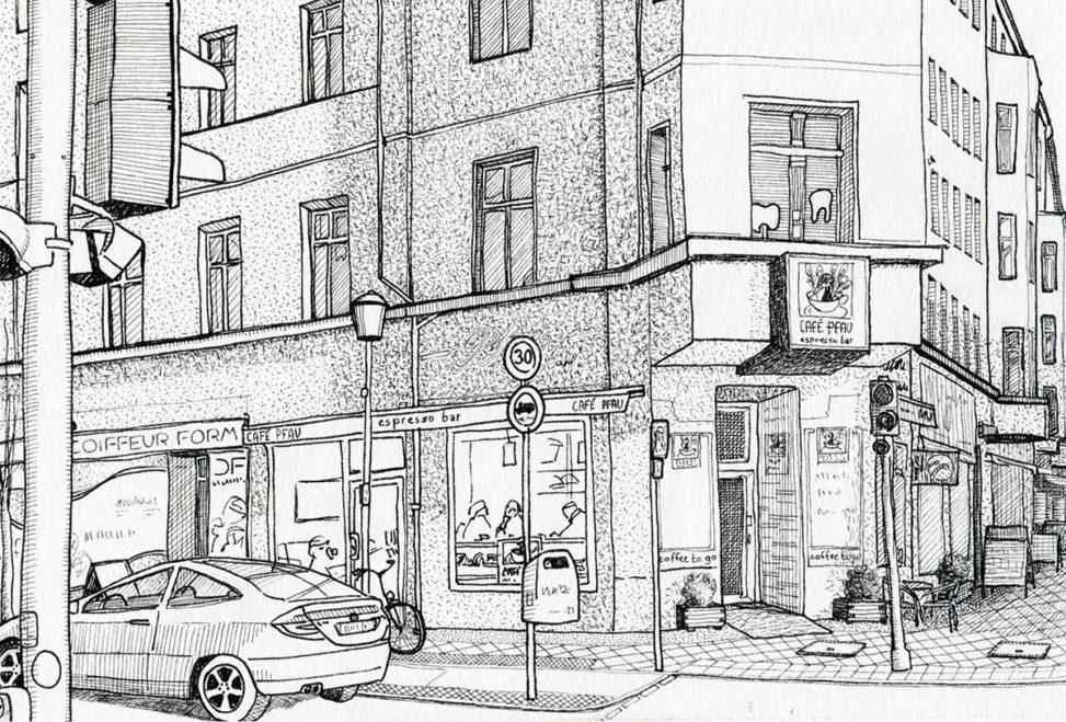 Illustration vom Café Pfau