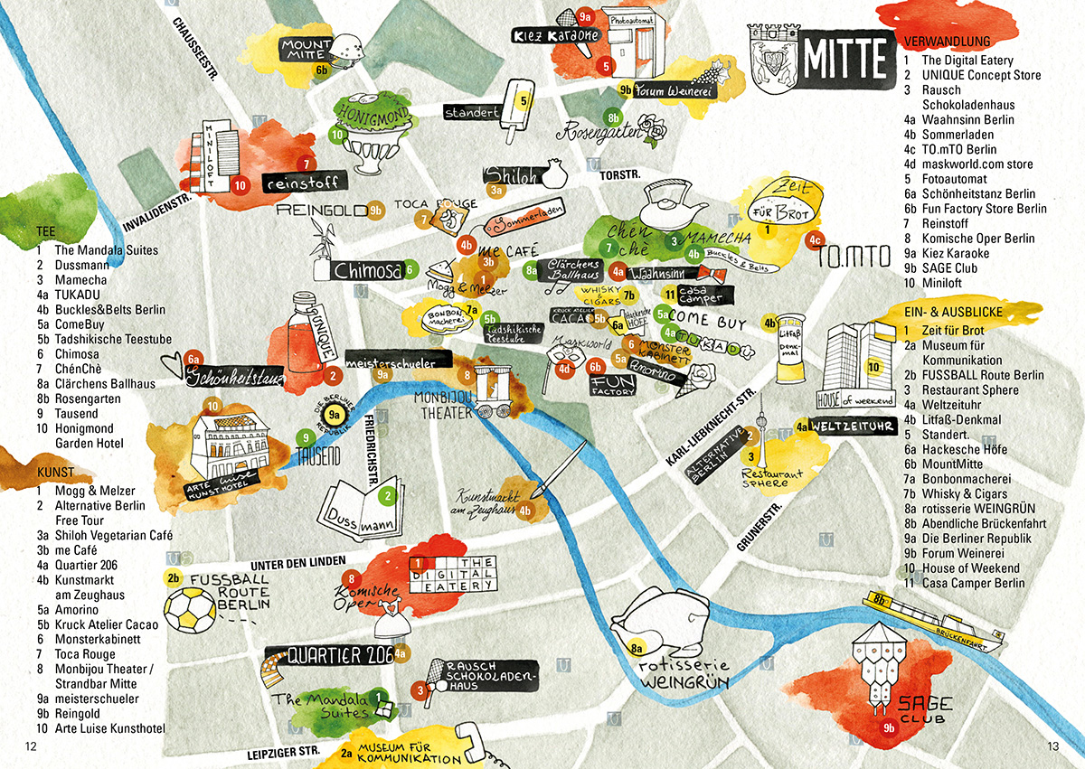 Illustrated Map Of The Berlin District Of Mitte Sara ContiniFrank - Berlin mitte map