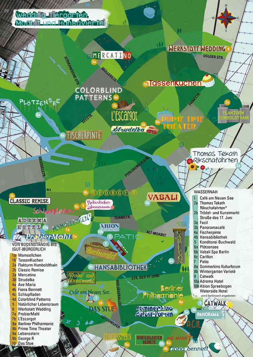 Stadkarte der Bezirke Tiergarten und Wedding