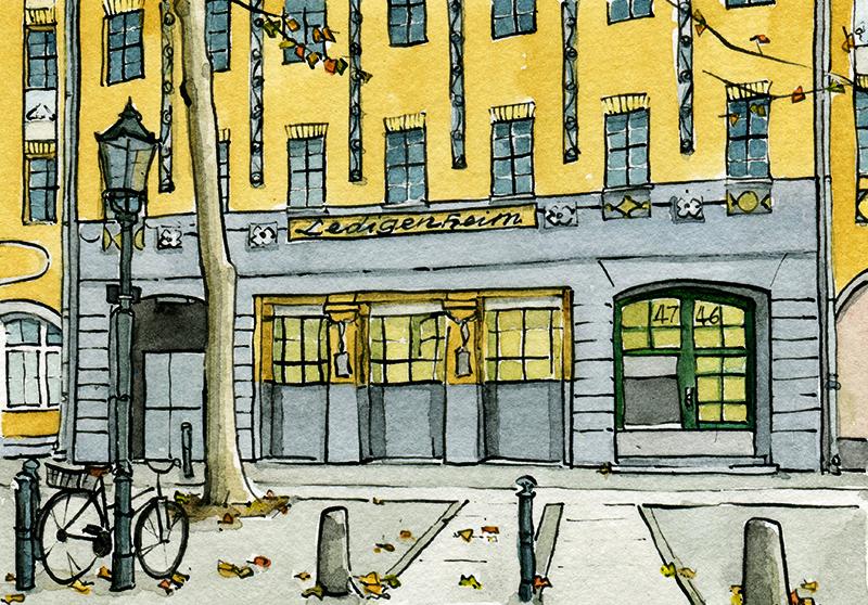 Illustration vom Ledigenheim Danckelmannstraße