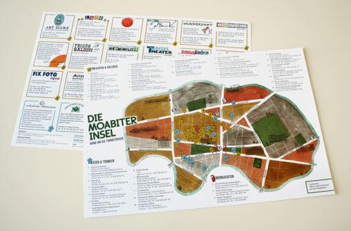 Doppelseitiger Plan des Stadtteils Berlin-Moabit