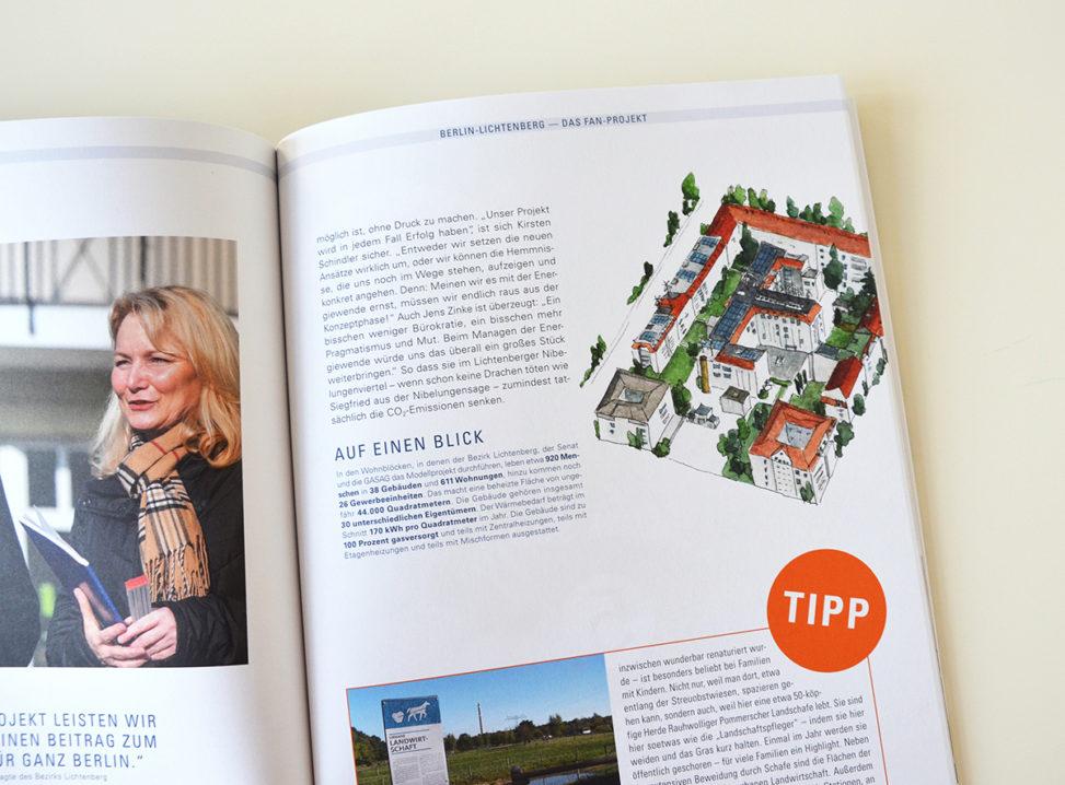 "Magazin-Innenillustration Energieprojekt Berlin-Lichtenberg im Magazin ""Reiseführer Energie"""