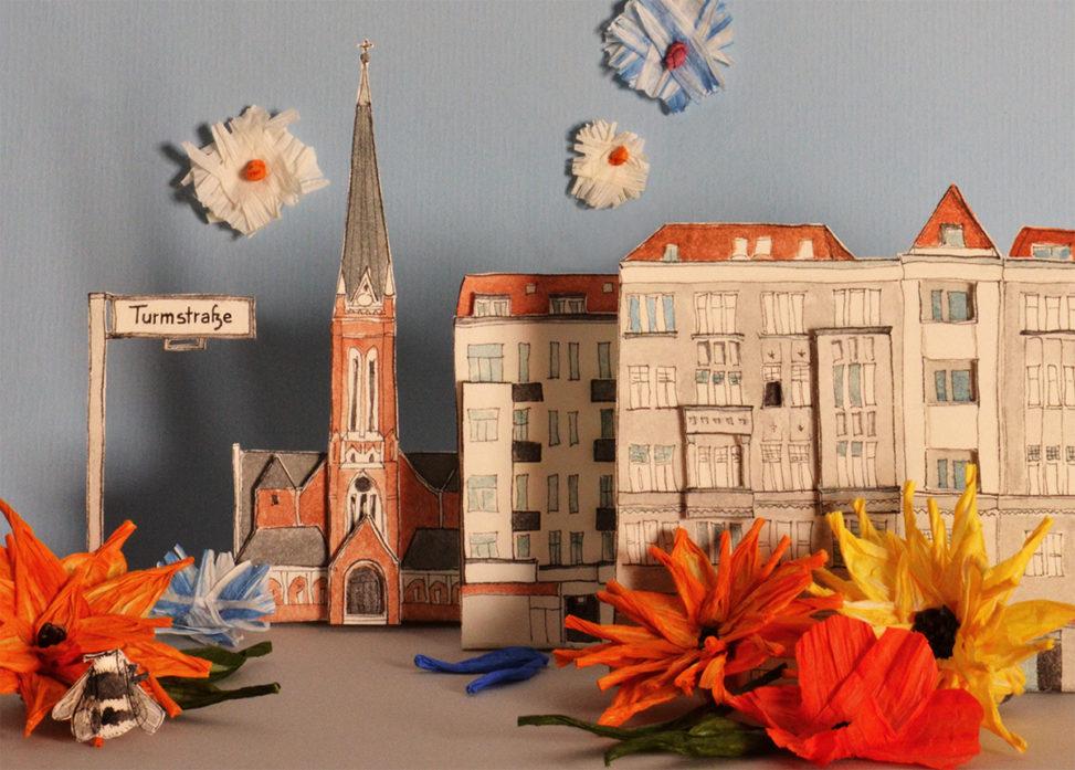 """Postkarte """"Die Turmstraße blüht auf"""""""
