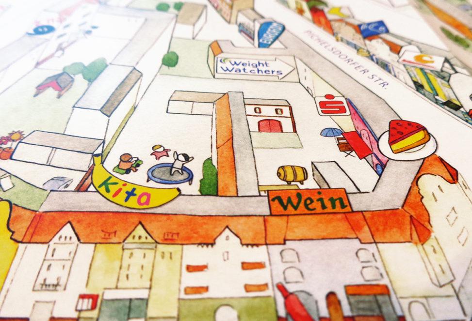 Detail aus der Vorderseite vom WilhelmStadtPlan, Kartenausschnitt