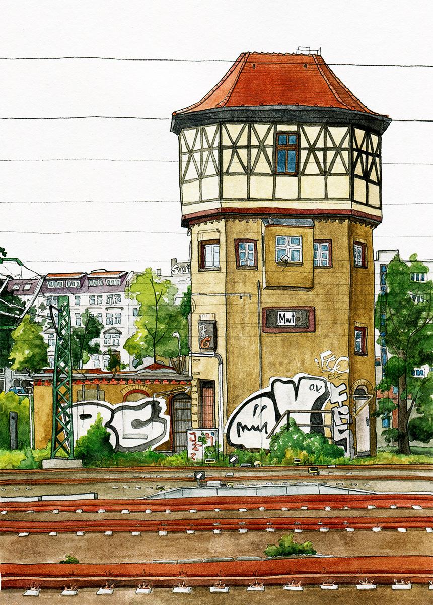 Illustration vom Stellwerk Moabit Westturm