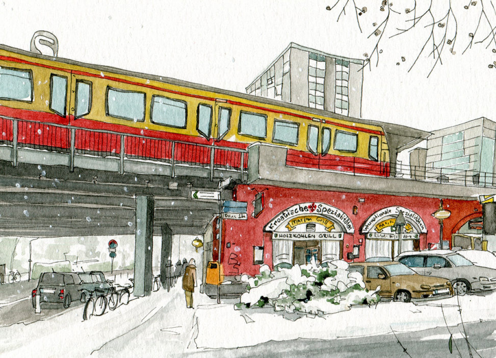 Illustration vom S-Bahnof Bellevue