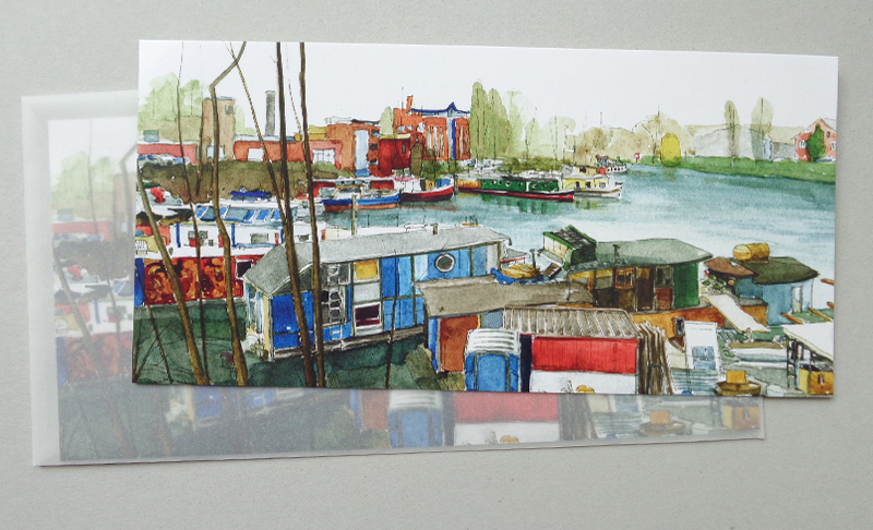 Postkarte mit Umschlag Hausboote des Westhafens