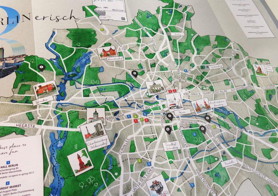 illustreirter Faltplan Berlin, dem Geschäftsbericht 2016 von ADO beigelegt