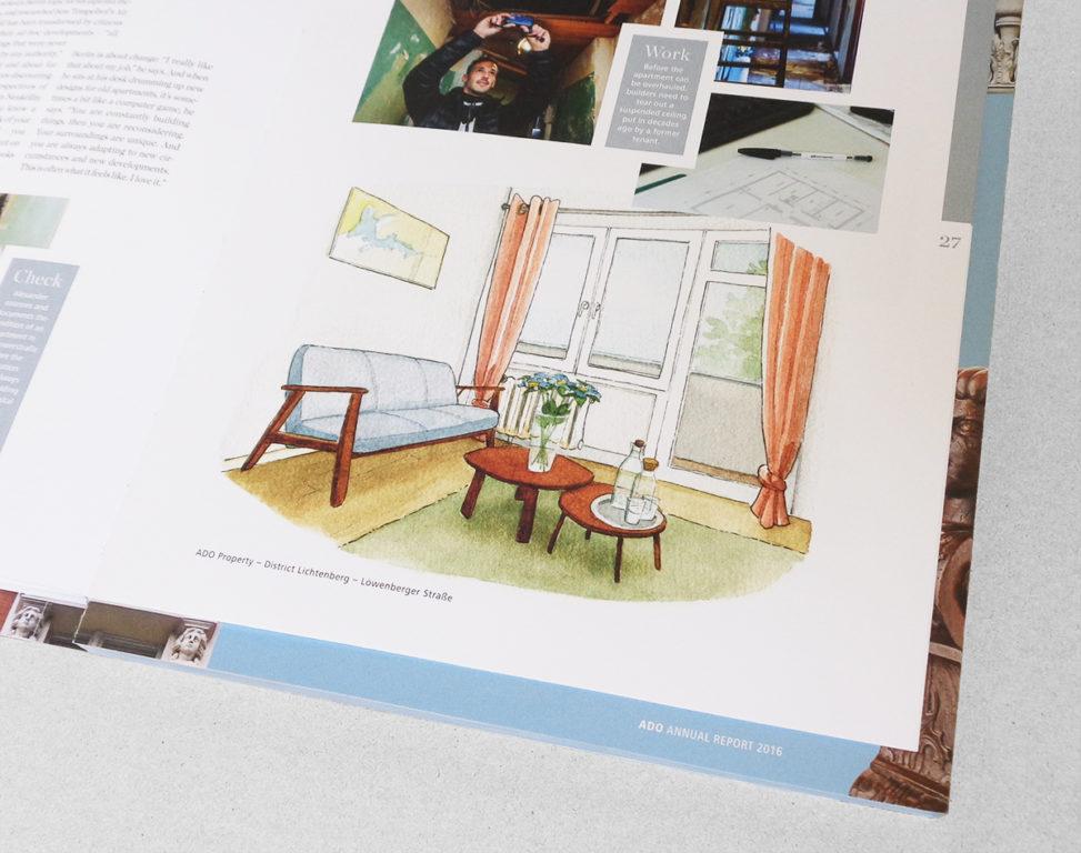 Geschäftsbericht-Innenillustration Musterwohnung Berlin-Lichtenberg im Geschäftsbericht 2016 von ADO