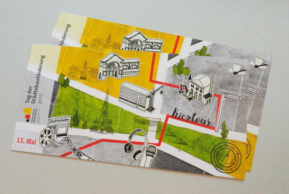 Postkarten: Einladung zu Kieztour und Kino zum Tag der Städtebauförderung 2017 in Berlin-Moabit