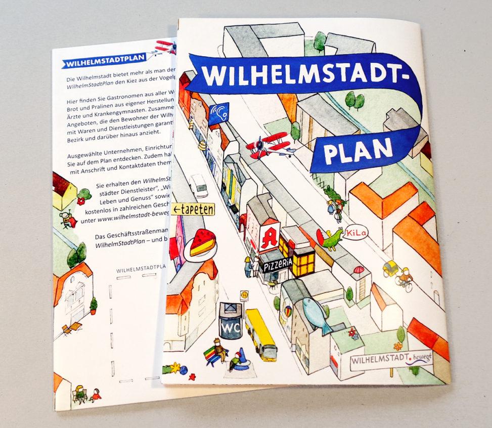 Illustrierter Stadtplan des Stadtteils Berlin-Wilhelmstadt