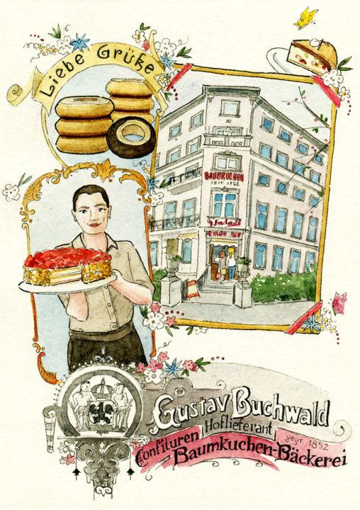 Illustrierte Postkarte der Konditorei Buchwald mit Cafészenen, handgeschriebener Schrift und Dekor