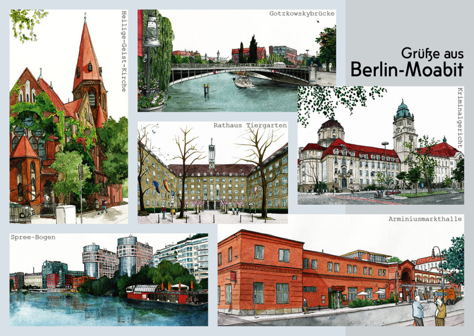 "Postkarte ""Grüße aus Berlin-Moabit"": Arminiusmarkhalle, Rathaus Tiergarten, Kriminalgericht Moabit, Spree-Bogen, Gotzkowskbrücke, Heilige-Geist-Kirche"