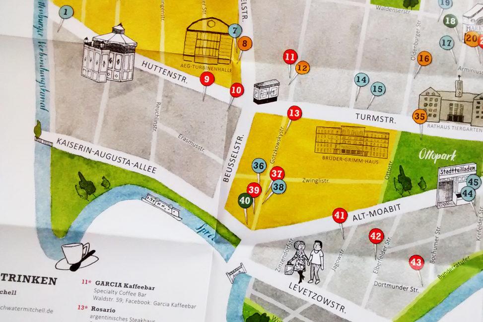 Detailansicht der illustrierten Moabiter Kiezkarte, Sara Contini-Frank