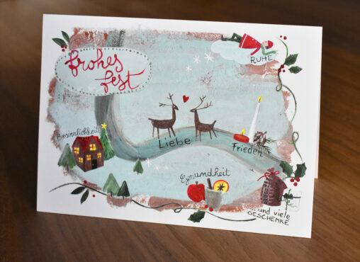 """""""Frohes Fest"""" Weihnachtskarte: Besinnlichkeit, Liebe, Frieden, Ruhe, Gesundheit ... und viele Geschenke"""