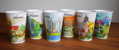 Reihe aus sechs unterschiedlichen Motiven für Mehrweg-Kaffeebecher