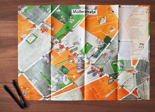 Gedruckter, illustrierter Faltplan der Müllerstraße, offen liegend