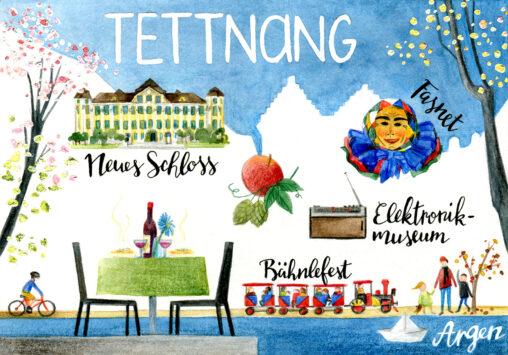 gezeichnete Postkarte der Stadt Tettnang