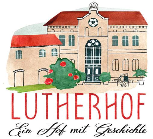 """Logo vom Lutherhof: Hofgebäude mit handgeschriebem Claim """"Ein Hof mit Geschichte"""""""